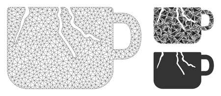 Mesh damaged cup model with triangle mosaic icon. Wire carcass polygonal mesh of damaged cup. Vector collage of triangle elements in different sizes, and color shades. Abstract flat mesh damaged cup, Ilustração
