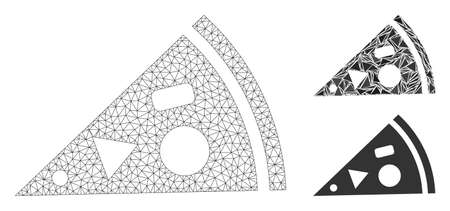 Mesh pizza piece model with triangle mosaic icon. Wire carcass polygonal mesh of pizza piece. Vector mosaic of triangle parts in various sizes, and color tones. Abstract 2d mesh pizza piece,