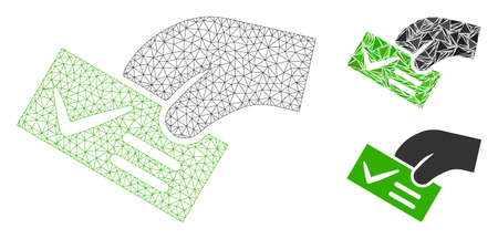 Mesh smart vote model with triangle mosaic icon. Wire carcass triangular network of smart vote. Vector mosaic of triangle elements in variable sizes, and color shades. Abstract flat mesh smart vote,