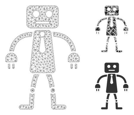 Mesh official robot model with triangle mosaic icon. Wire frame polygonal mesh of official robot. Vector mosaic of triangle elements in different sizes, and color shades.