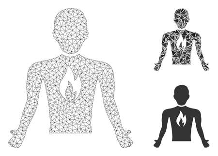 Mesh chest pain model with triangle mosaic icon. Wire frame polygonal mesh of chest pain. Vector composition of triangle parts in different sizes, and color tones. Abstract 2d mesh chest pain,