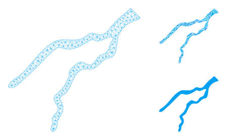 Mesh river model with triangle mosaic icon. Wire frame polygonal mesh of river. Vector mosaic of triangle parts in different sizes, and color tinges. Abstract 2d mesh river, Illustration