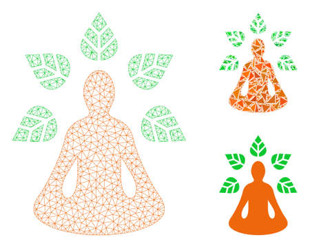Mesh yoga wellness model with triangle mosaic icon. Wire carcass polygonal mesh of yoga wellness. Vector mosaic of triangle elements in various sizes, and color tones. Abstract 2d mesh ioga wellness,