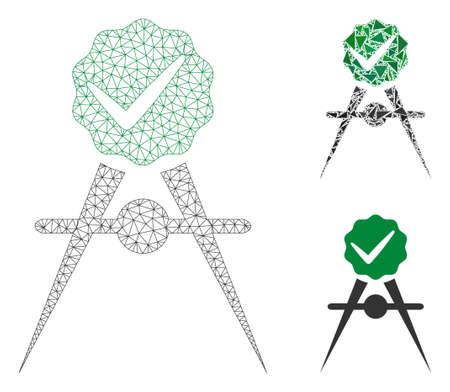 Mesh-Qualitätskontrollmeter-Modell mit Dreieck-Mosaik-Symbol. Drahtkarkasse dreieckiges Netz des Qualitätskontrollmeters. Vektormosaik aus Dreieckselementen in verschiedenen Größen und Farbtönen. Vektorgrafik