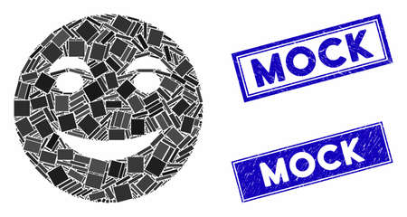 Mosaic funny smile pictogram and rectangle Mock stamps. Flat vector funny smile mosaic icon of randomized rotated rectangle elements. Blue Mock rubber stamps with rubber textures. Vectores