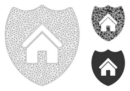 Mesh realty insurance model with triangle mosaic icon. Wire frame triangular mesh of realty insurance. Vector mosaic of triangle elements in various sizes, and color shades.