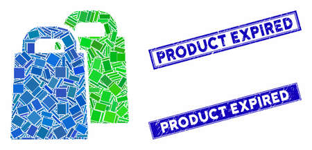 Mosaic buy pictogram and rectangular Product Expired seal stamps. Flat vector buy mosaic icon of randomized rotated rectangular items. Blue Product Expired rubber stamps with grunge texture.