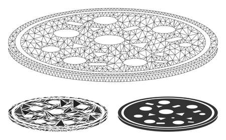 Mesh round pizza model with triangle mosaic icon. Wire carcass polygonal mesh of round pizza. Vector mosaic of triangle parts in variable sizes, and color hues. Abstract flat mesh round pizza, Foto de archivo - 135023926