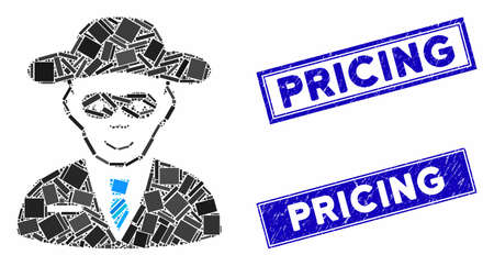 Mosaic security agent pictogram and rectangular Pricing seals. Flat vector security agent mosaic pictogram of random rotated rectangular elements. Blue Pricing rubber stamps with scratched surface.