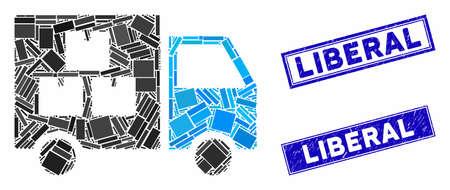 Mosaic goods transportation car pictogram and rectangle Liberal stamps. Flat vector goods transportation car mosaic pictogram of randomized rotated rectangle items. Çizim
