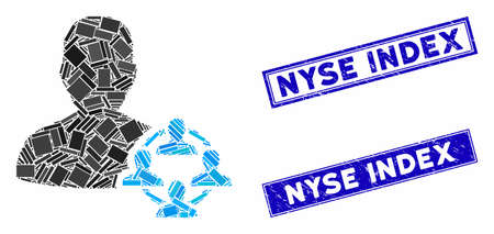 Mosaic politics icon and rectangular Nyse Index seal stamps. Flat vector politics mosaic icon of random rotated rectangle items. Blue Nyse Index seal stamps with scratched textures.