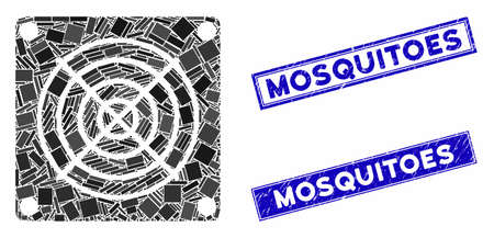 Mosaic mining ASIC device icon and rectangular Mosquitoes seals. Flat vector mining ASIC device mosaic icon of random rotated rectangle elements. Blue Mosquitoes rubber seals with corroded texture. 向量圖像