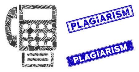 Mosaic fax machine pictogram and rectangular Plagiarism rubber prints. Flat vector fax machine mosaic pictogram of scattered rotated rectangular items.
