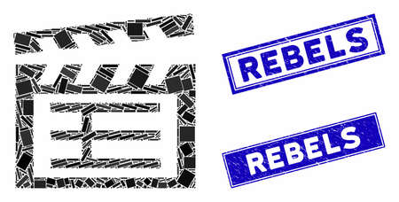 Mosaic movie clap pictogram and rectangle Rebels seal stamps. Flat vector movie clap mosaic pictogram of scattered rotated rectangle elements. Blue Rebels stamps with distress surface. Vectores