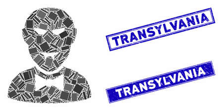 Mosaic vampire icon and rectangular Transylvania watermarks. Flat vector vampire mosaic icon of randomized rotated rectangular elements. Blue Transylvania watermarks with scratched texture.
