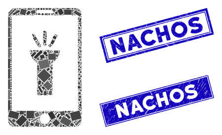 Mosaic mobile light app pictogram and rectangular Nachos watermarks. Flat vector mobile light app mosaic pictogram of random rotated rectangular items. Blue Nachos seal stamps with grunge surface. Ilustrace