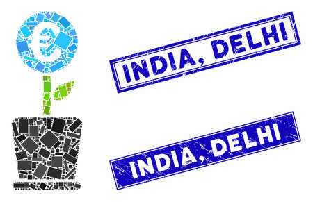 Mosaic euro business project plant icon and rectangle India, Delhi stamps. Flat vector euro business project plant mosaic icon of randomized rotated rectangle items. Blue India,
