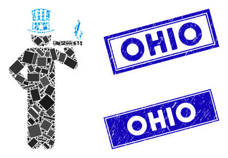 Mosaic American capitalist icon and rectangle Ohio seals. Flat vector American capitalist mosaic icon of randomized rotated rectangular items. Blue Ohio rubber seals with scratched surface. Stock Vector - 135041222