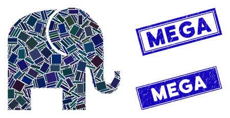 Mosaic elephant icon and rectangular Mega watermarks. Flat vector elephant mosaic icon of scattered rotated rectangular items. Blue Mega watermarks with grunge textures. Çizim