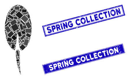 Mosaic seed root pictogram and rectangular Spring Collection seal stamps. Flat vector seed root mosaic pictogram of randomized rotated rectangular elements. Ilustracja