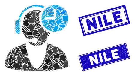 Mosaic operator time pictogram and rectangle Nile stamps. Flat vector operator time mosaic icon of scattered rotated rectangle elements. Blue Nile stamps with grunge textures.