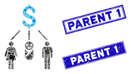Mosaic family budget icon and rectangle Parent 1 watermarks. Flat vector family budget mosaic icon of scattered rotated rectangle items. Blue Parent 1 watermarks with distress texture.