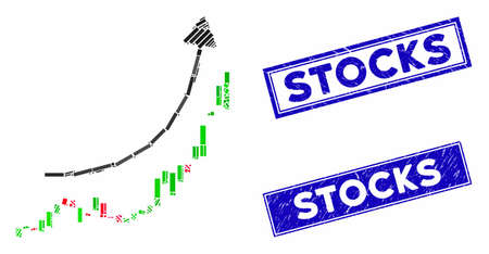 Mosaic candlestick chart growth trend icon and rectangular Stocks rubber prints. Flat vector candlestick chart growth trend mosaic pictogram of random rotated rectangular items.