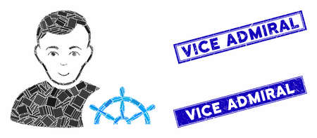 Mosaic captain icon and rectangular Vice Admiral seal stamps. Flat vector captain mosaic icon of random rotated rectangular elements. Blue Vice Admiral stamps with distress texture. Çizim