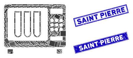 Mosaic sterilizer pictogram and rectangular Saint Pierre seal stamps. Flat vector sterilizer mosaic icon of random rotated rectangular items. Blue Saint Pierre seal stamps with dirty textures.
