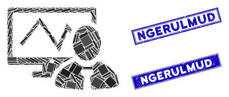 Mosaic online trader pictogram and rectangle Ngerulmud watermarks. Flat vector online trader mosaic icon of random rotated rectangle items. Blue Ngerulmud watermarks with dirty textures. Illustration