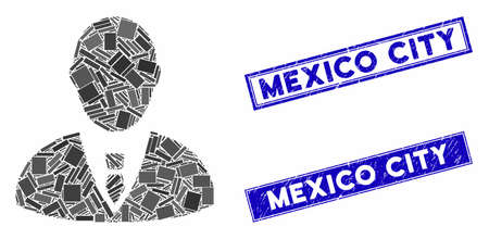 Mosaic manager pictogram and rectangular Mexico City rubber prints. Flat vector manager mosaic pictogram of randomized rotated rectangular elements. Ilustracja