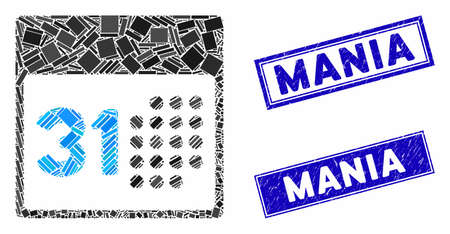 Mosaic last month day icon and rectangular Mania seal stamps. Flat vector last month day mosaic icon of scattered rotated rectangular elements. Blue Mania stamps with distress surface. Ilustracja