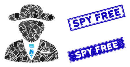 Mosaic agent pictogram and rectangular Spy Free stamps. Flat vector agent mosaic pictogram of random rotated rectangular elements. Blue Spy Free stamps with corroded surface. Ilustração