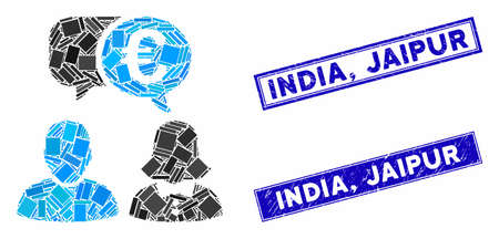 Mosaic Euro chat icon and rectangle India, Jaipur stamps. Flat vector Euro chat mosaic icon of scattered rotated rectangle elements. Blue India, Jaipur rubber seals with distress surface.
