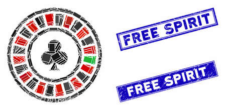 Mosaic casino roulette pictogram and rectangle Free Spirit stamps. Flat vector casino roulette mosaic pictogram of randomized rotated rectangle elements. Ilustrace