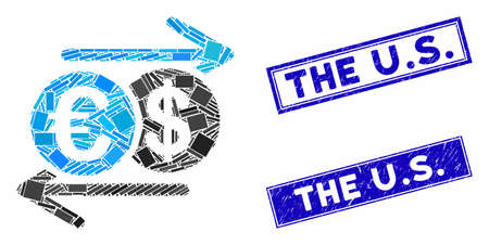 Mosaic Dollar Euro exchange pictogram and rectangle The U.S. rubber prints. Flat vector Dollar Euro exchange mosaic icon of randomized rotated rectangle items. Blue The U.S. Vektoros illusztráció