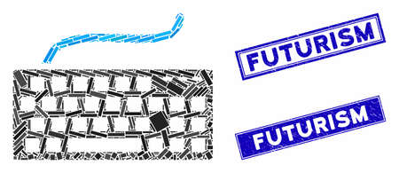 Mosaic computer keyboard icon and rectangle Futurism stamps. Flat vector computer keyboard mosaic icon of randomized rotated rectangle elements. Blue Futurism stamps with scratched textures.