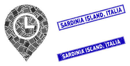 Mosaic time marker icon and rectangular Sardinia Island, Italia stamps. Flat vector time marker mosaic icon of randomized rotated rectangular elements. Blue Sardinia Island,