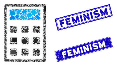 Mosaic calculator icon and rectangular Feminism rubber prints. Flat vector calculator mosaic icon of random rotated rectangular elements. Blue Feminism stamp imprints with grunge texture. Çizim