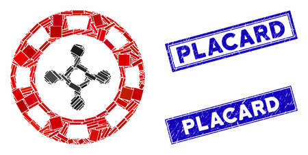 Mosaic roulette casino chip icon and rectangle Placard seal stamps. Flat vector roulette casino chip mosaic icon of randomized rotated rectangular elements.
