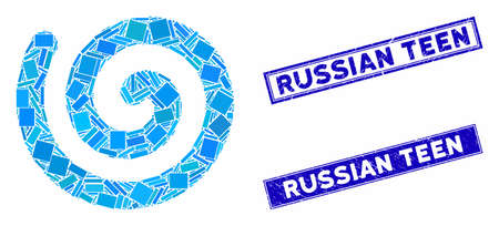 Mosaic spiral icon and rectangle Russian Teen seal stamps. Flat vector spiral mosaic icon of random rotated rectangle elements. Blue Russian Teen stamps with distress surface.