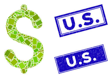 Mosaic dollar pictogram and rectangle U.S. seal stamps. Flat vector dollar mosaic icon of random rotated rectangular items. Blue U.S. seal stamps with grunge surface.