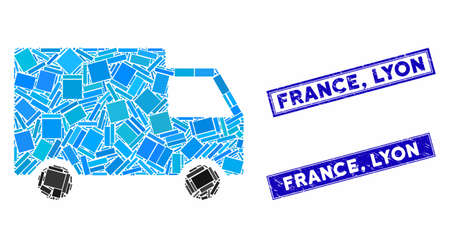 Mosaic cargo van pictogram and rectangular France, Lyon seal stamps. Flat vector cargo van mosaic pictogram of random rotated rectangular items. Blue France, Lyon rubber stamps with grunge texture.
