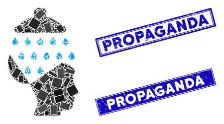 Mosaic open brain shower pictogram and rectangular Propaganda rubber prints. Flat vector open brain shower mosaic pictogram of scattered rotated rectangular items. Ilustracja