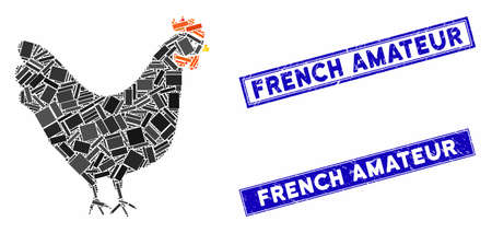 Mosaic chicken icon and rectangular French Amateur seal stamps. Flat vector chicken mosaic icon of randomized rotated rectangle items. Blue French Amateur seal stamps with grunge textures. Ilustração