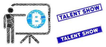 Mosaic Bitcoin lecture board icon and rectangular Talent Show seal stamps. Flat vector Bitcoin lecture board mosaic icon of random rotated rectangular elements.