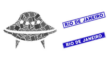 Mosaic space ship pictogram and rectangle Rio De Janeiro watermarks. Flat vector space ship mosaic icon of randomized rotated rectangle elements. Blue Rio De Janeiro watermarks with grunge surface. Vetores