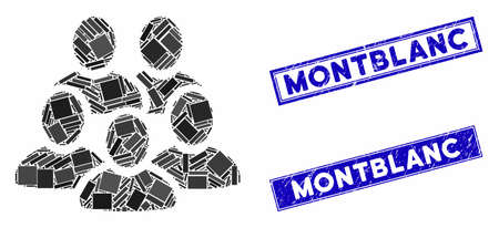 Mosaic men collective pictogram and rectangle Montblanc seals. Flat vector men collective mosaic pictogram of randomized rotated rectangle items. Blue Montblanc rubber seals with grunged textures.