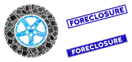 Mosaic car wheel pictogram and rectangle Foreclosure rubber prints. Flat vector car wheel mosaic pictogram of random rotated rectangular elements. Blue Foreclosure rubber stamps with rubber textures.