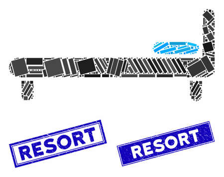 Mosaic bed icon and rectangle Resort rubber prints. Flat vector bed mosaic icon of randomized rotated rectangle elements. Blue Resort seals with distress surface.